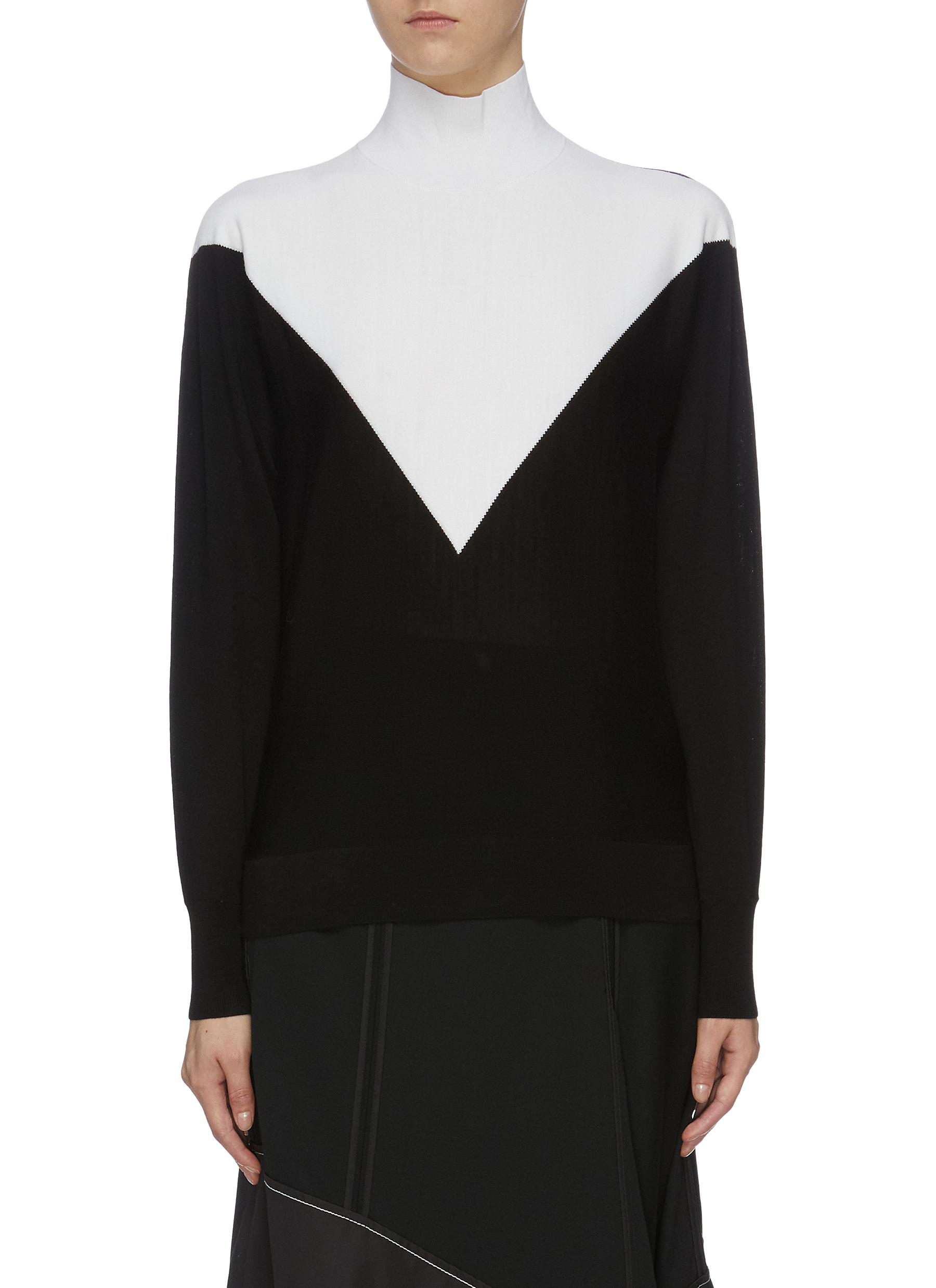 Chevron colourblock wool blend knit turtleneck top by Theory