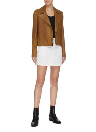 Figure View - Click To Enlarge - THEORY - Lambskin leather moto jacket