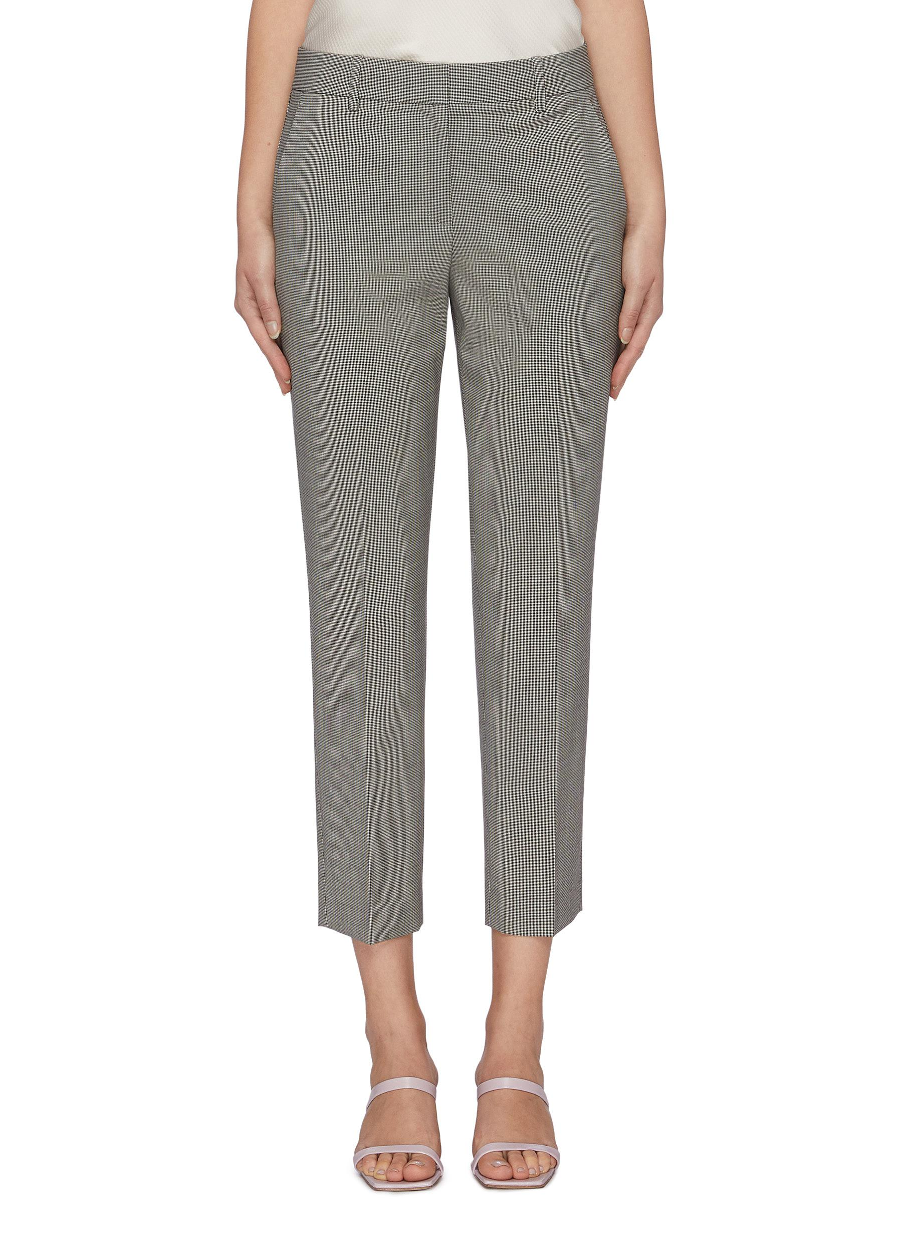 Treeca 2 houndstooth check merino wool suiting pants by Theory