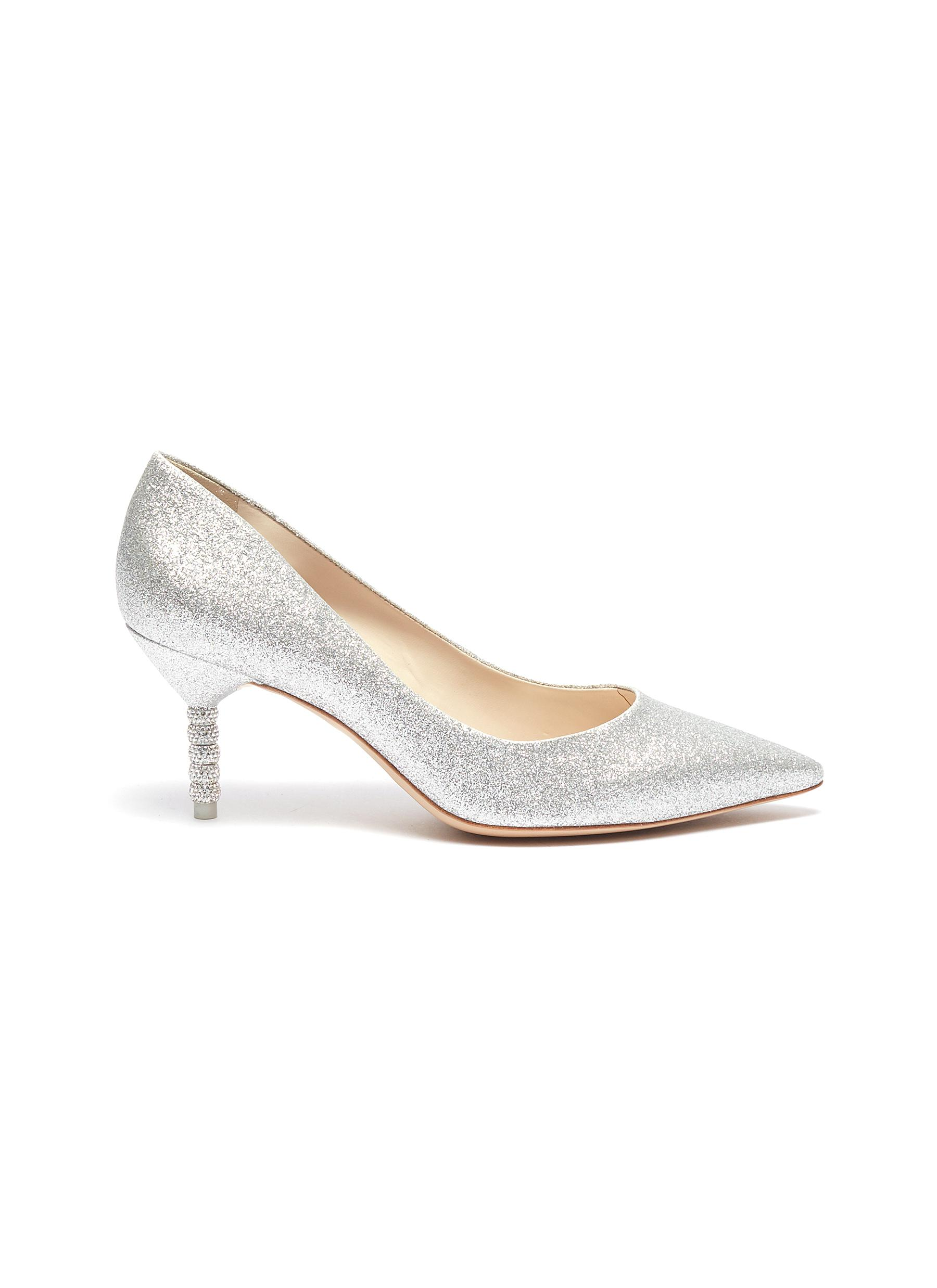 Coco crystal pavé bead heel glitter pumps by Sophia Webster