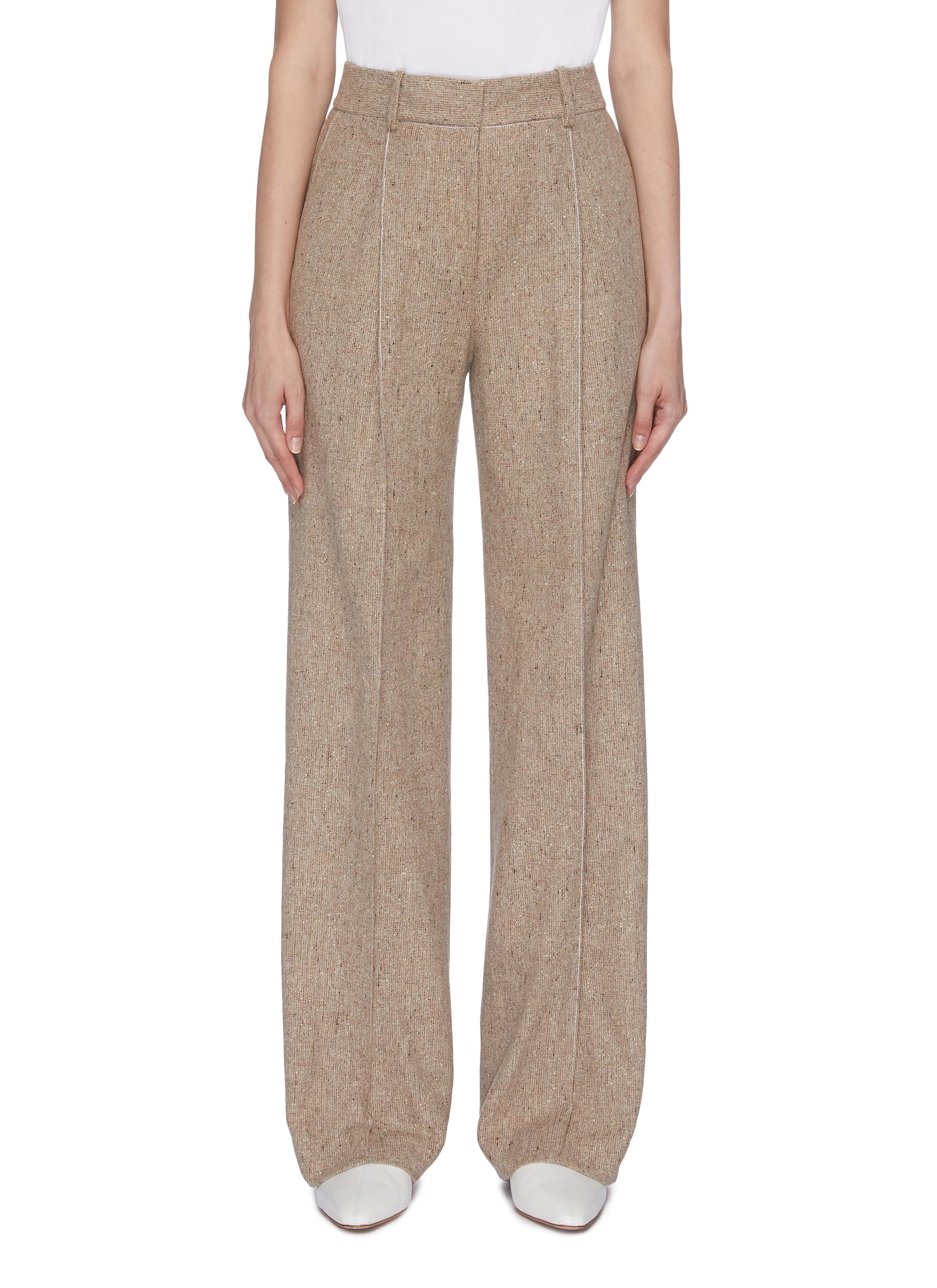 Pleated speckled wool wide leg pants by Theory