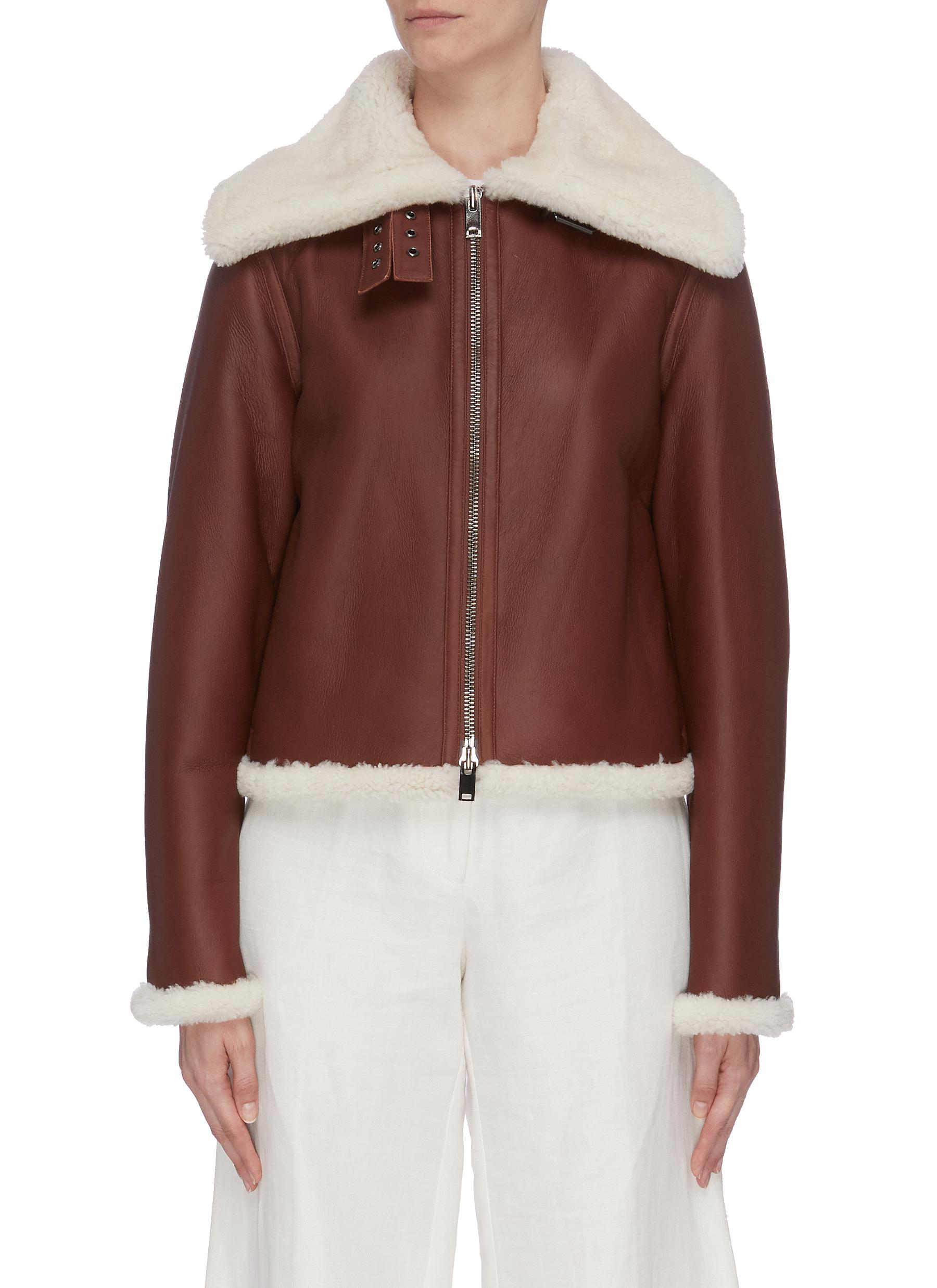 Panelled shearling moto jacket by Theory