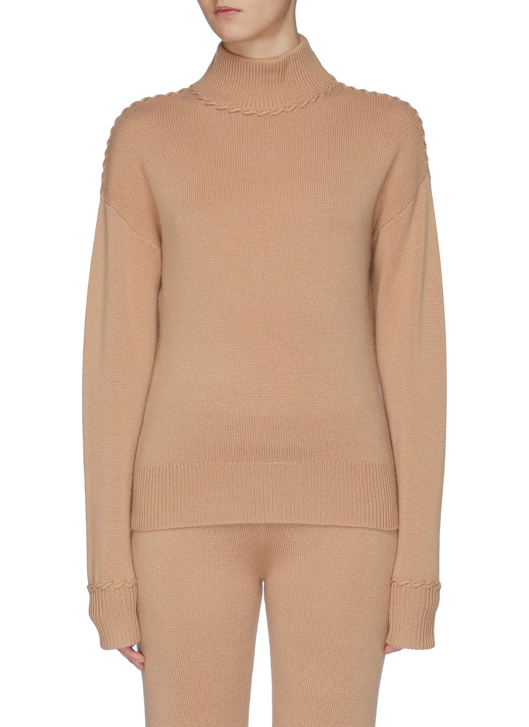 Whipstitch contrast cashmere turtleneck sweater by Theory