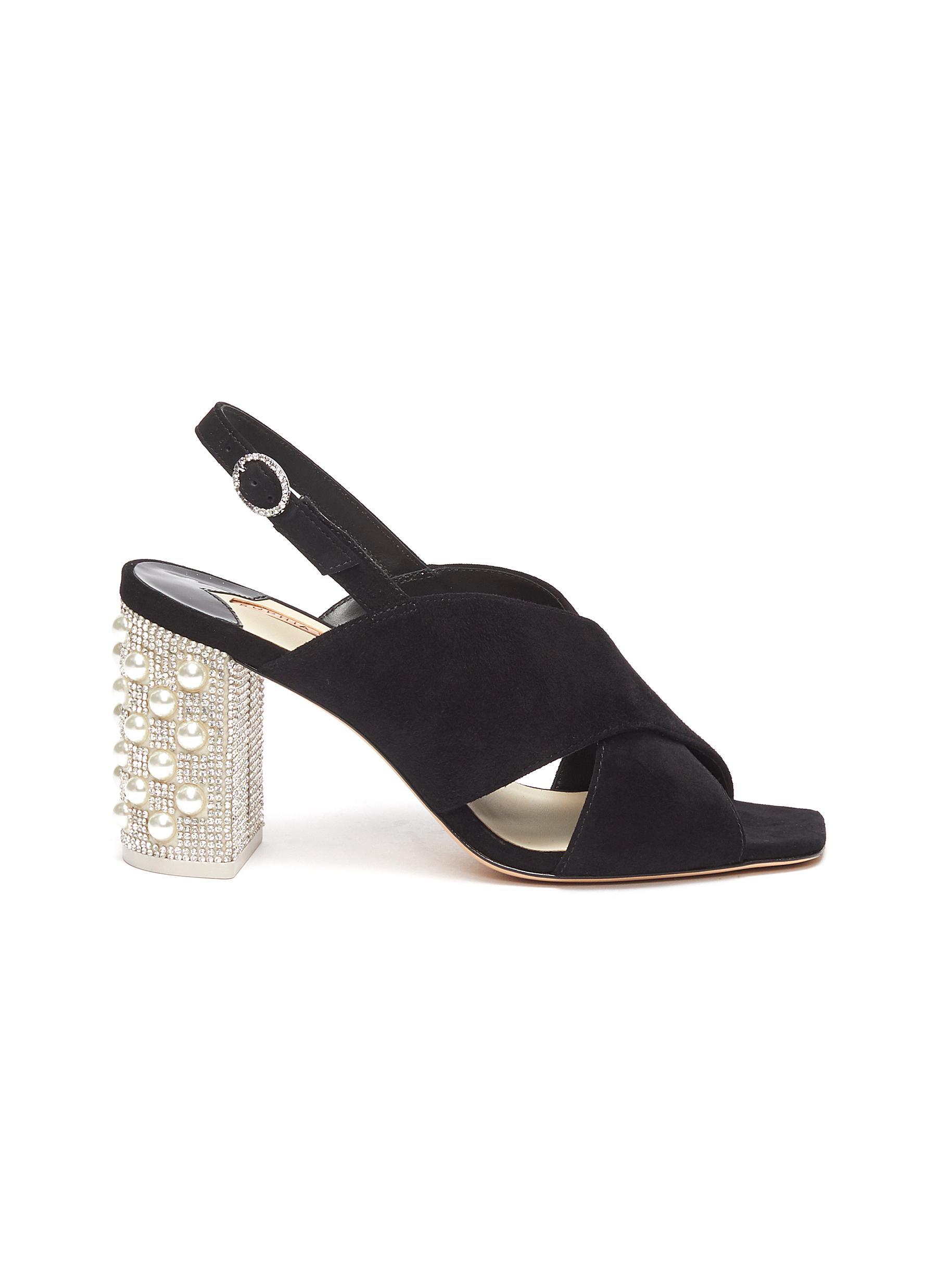 Nina embellished heel cross strap sandals by Sophia Webster