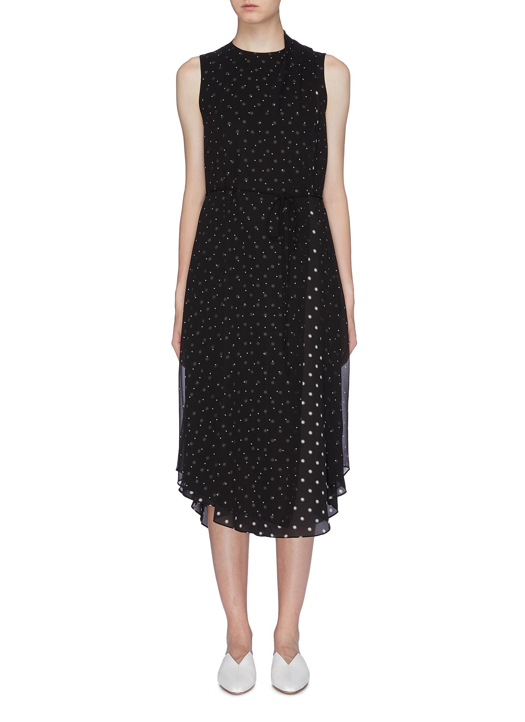 Chiffon overlay polka dot print sleeveless dress by Vince