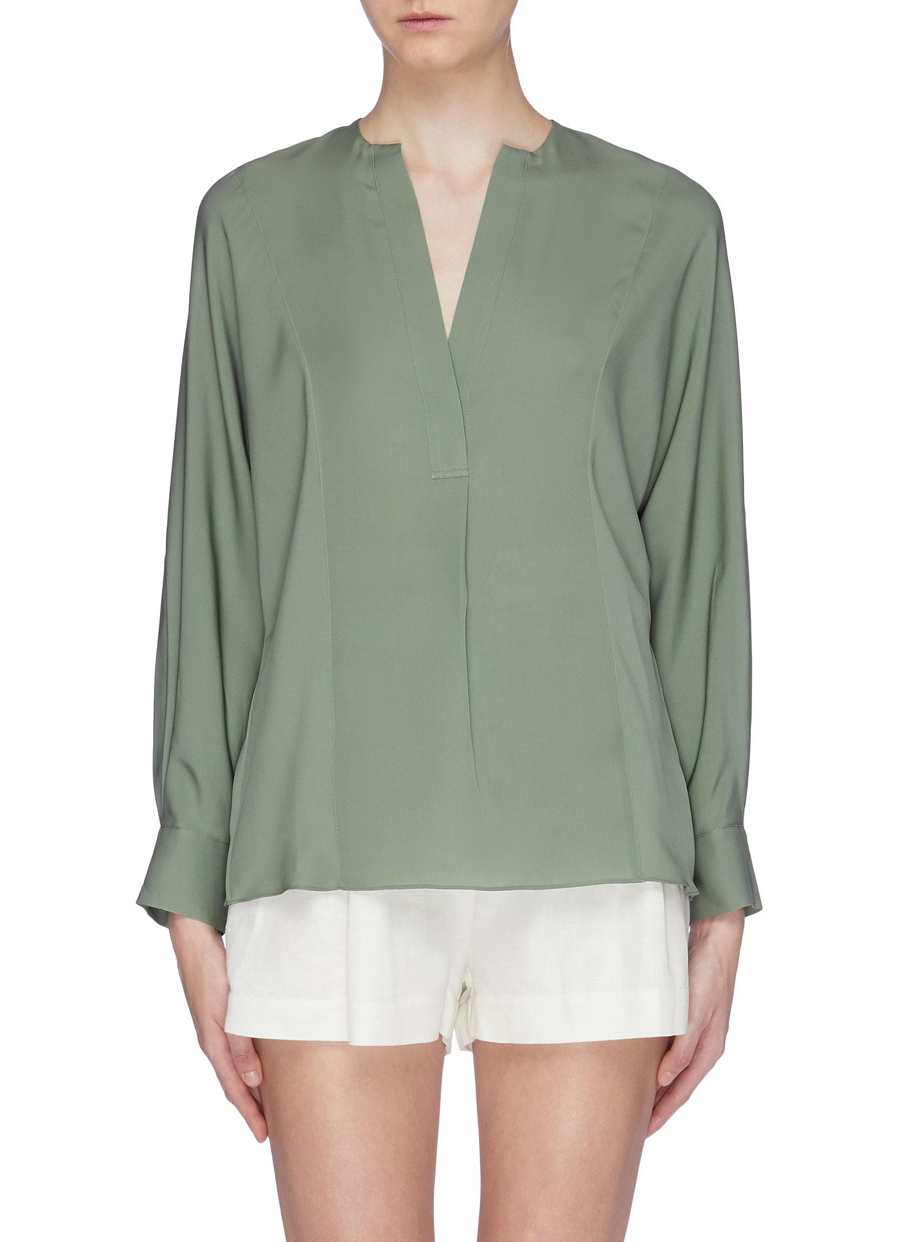 Half placket silk blouse by Vince