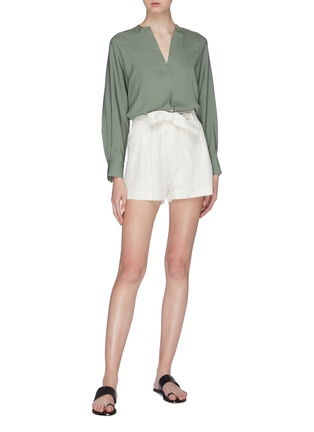Figure View - Click To Enlarge - VINCE - Half placket silk blouse