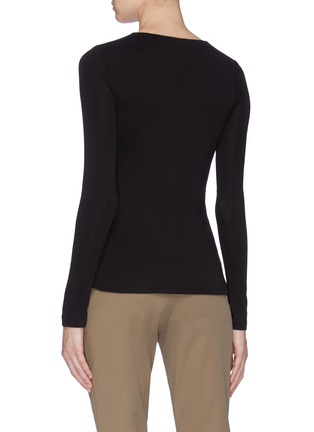 Back View - Click To Enlarge - VINCE - Pima cotton V-neck long sleeve top