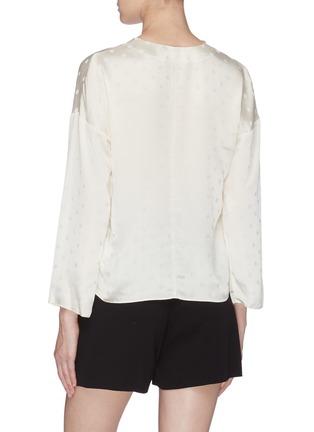 Back View - Click To Enlarge - VINCE - Dot jacquard silk satin blouse