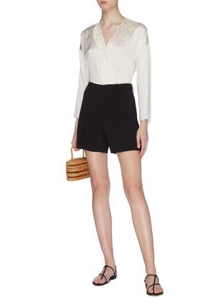 Figure View - Click To Enlarge - VINCE - Dot jacquard silk satin blouse