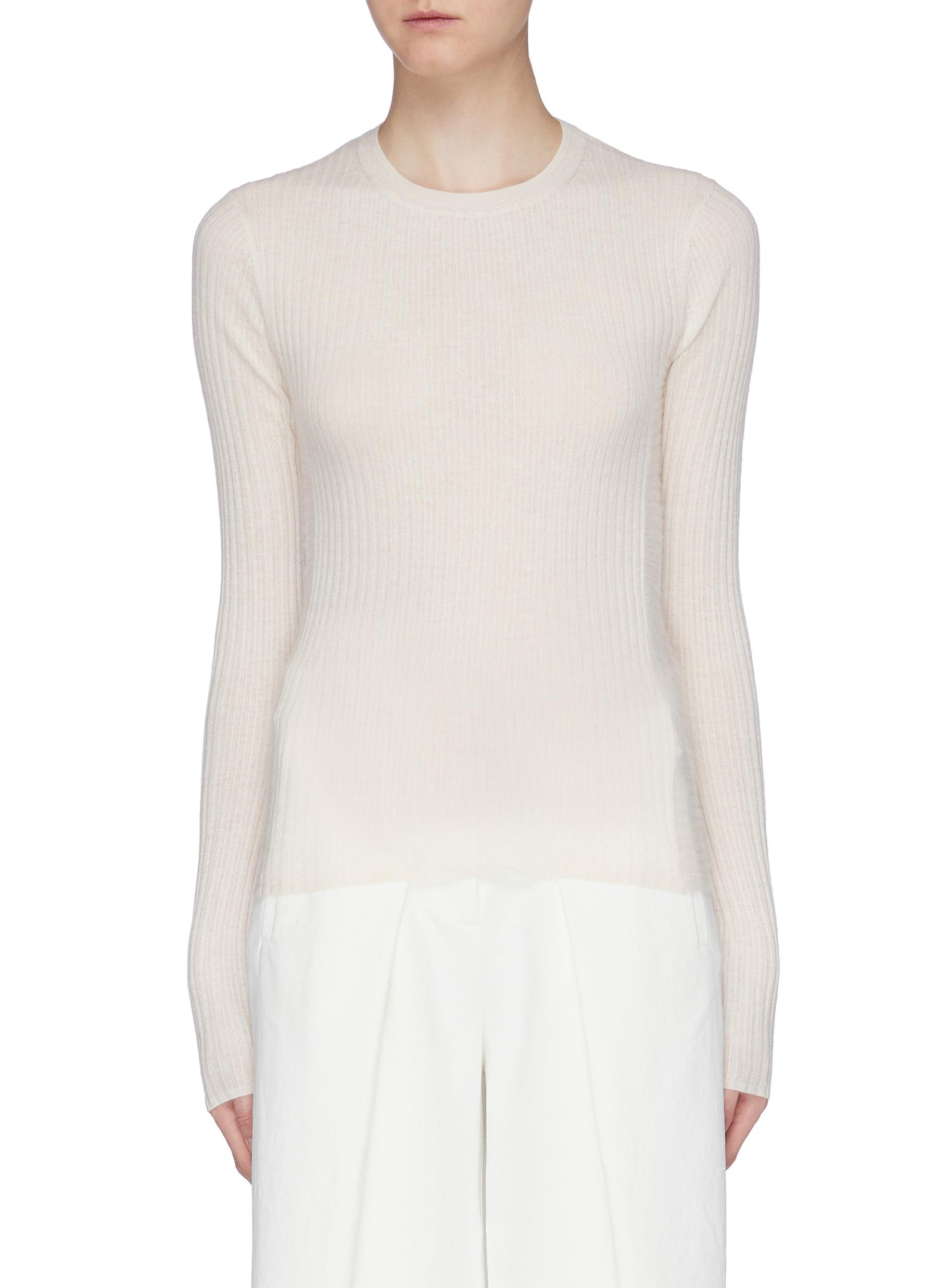 Directional rib knit cashmere sweater by Vince