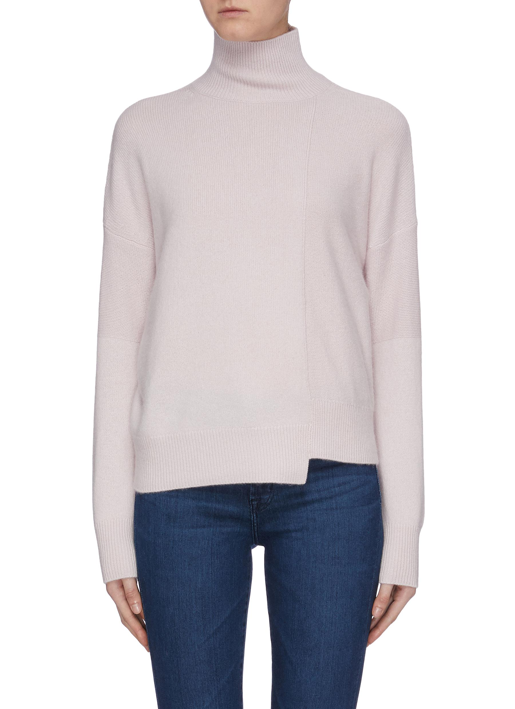 Stepped hem cashmere blend turtleneck sweater by Vince
