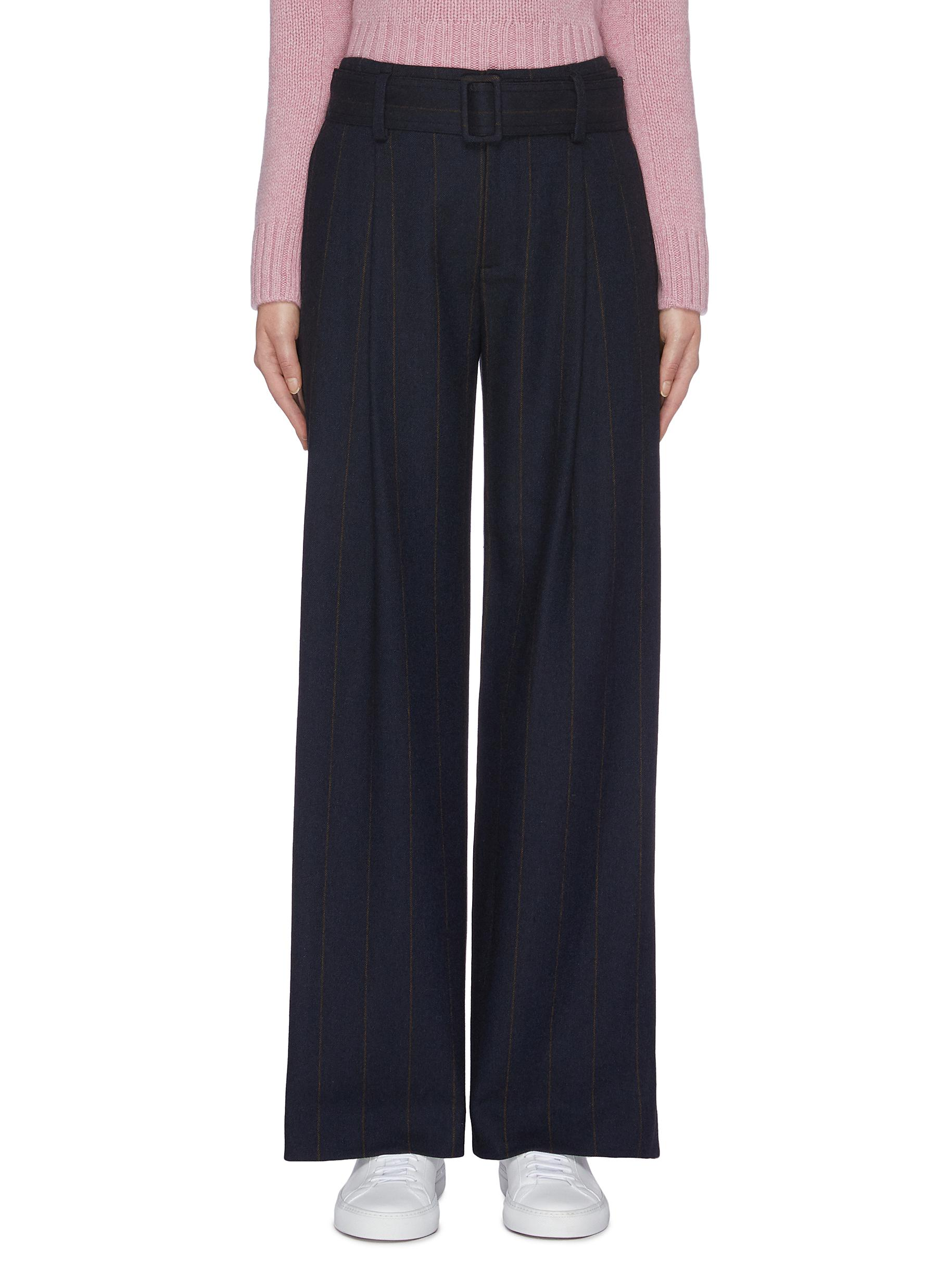 Belted pinstripe flannel wide leg pants by Vince