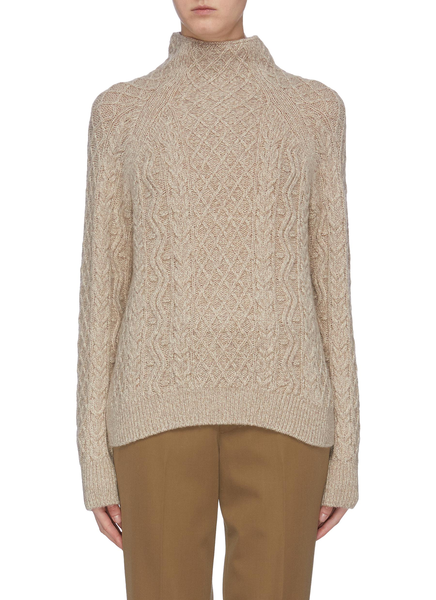 Zig Zag cable knit mock neck sweater by Vince