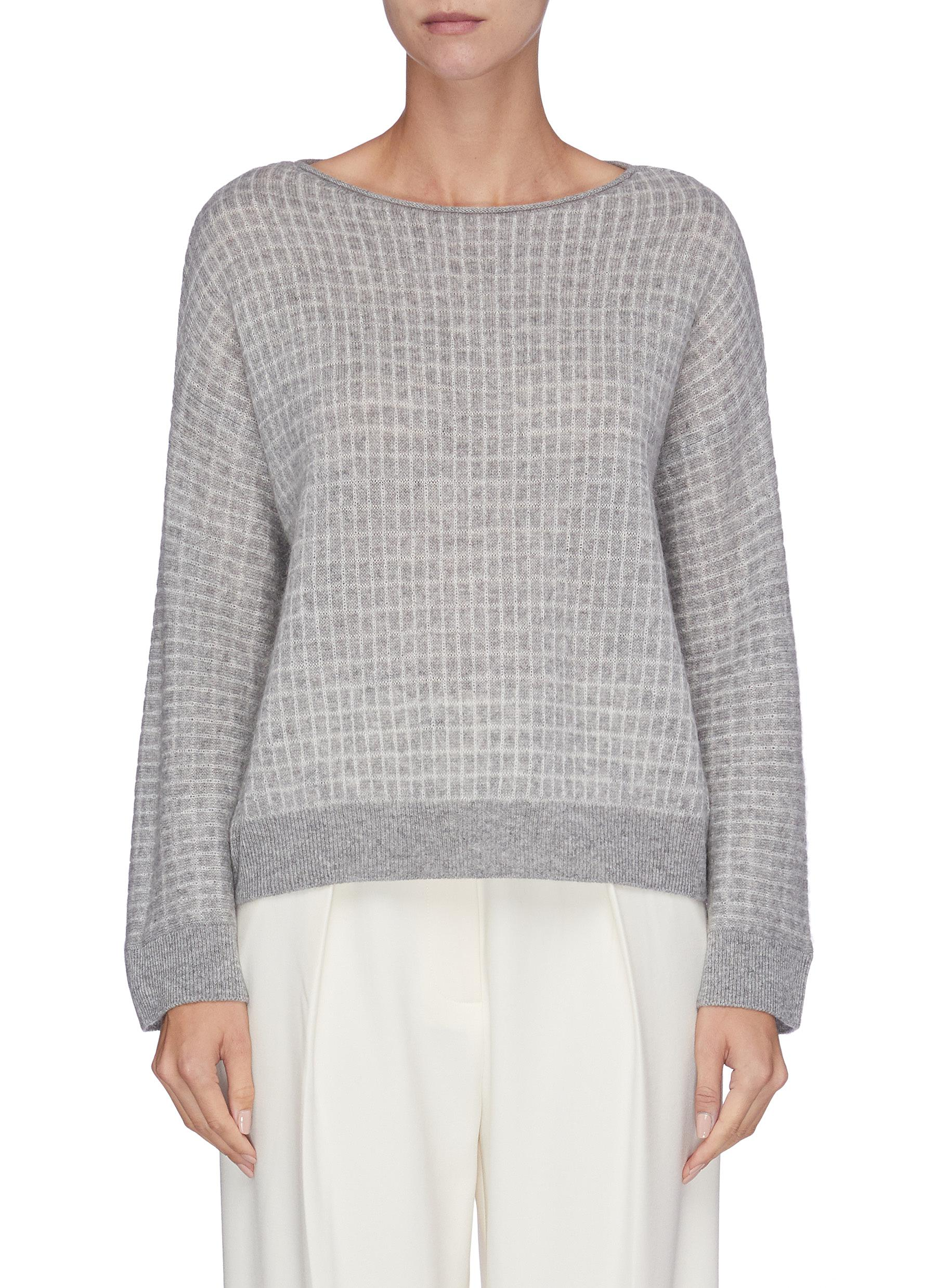 Grid check knit top by Vince