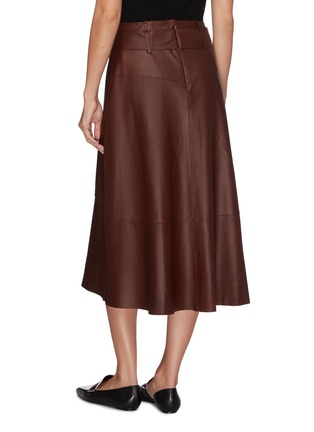 Back View - Click To Enlarge - VINCE - Sash tie lambskin leather midi skirt