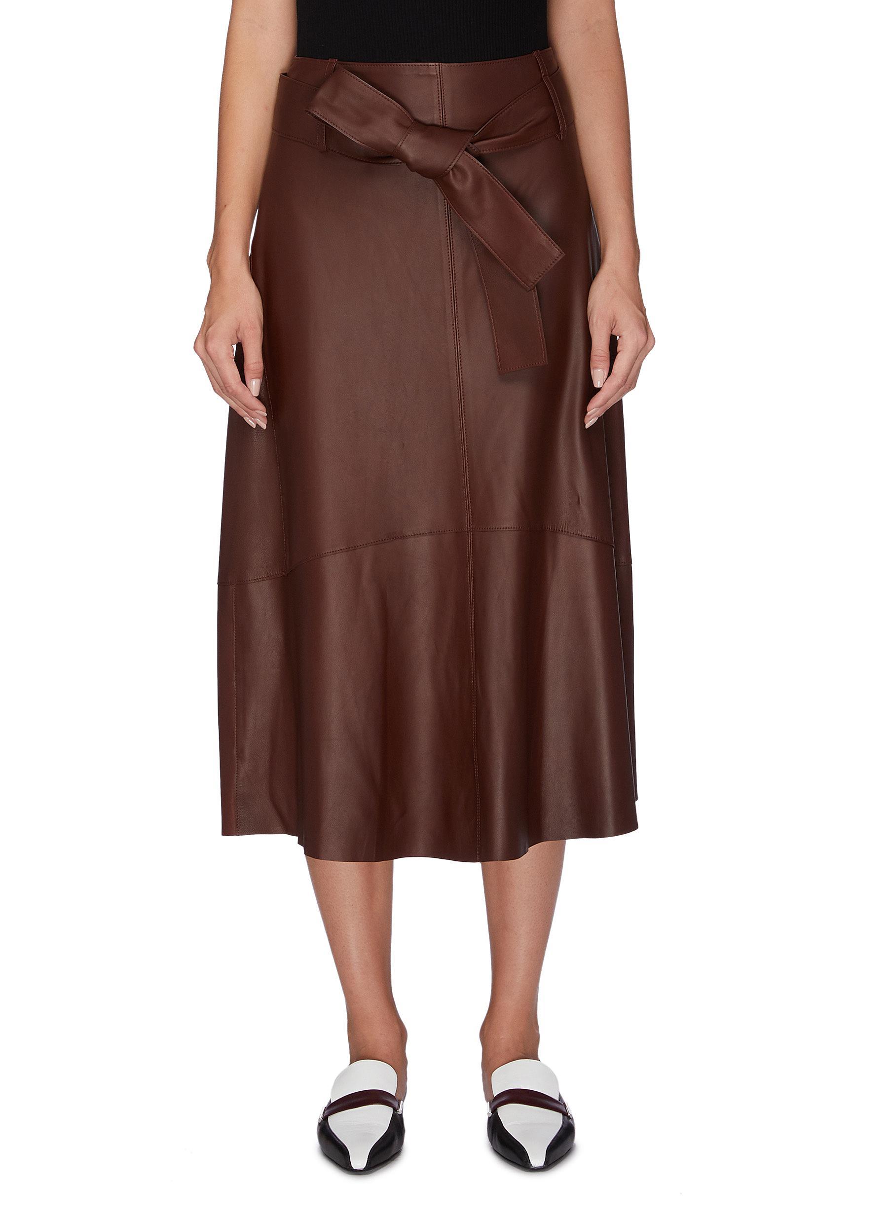 Sash tie lambskin leather midi skirt by Vince