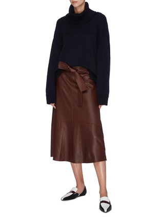 Figure View - Click To Enlarge - VINCE - Sash tie lambskin leather midi skirt