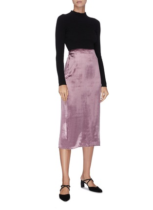 Figure View - Click To Enlarge - VINCE - 'Panné' velvet midi skirt