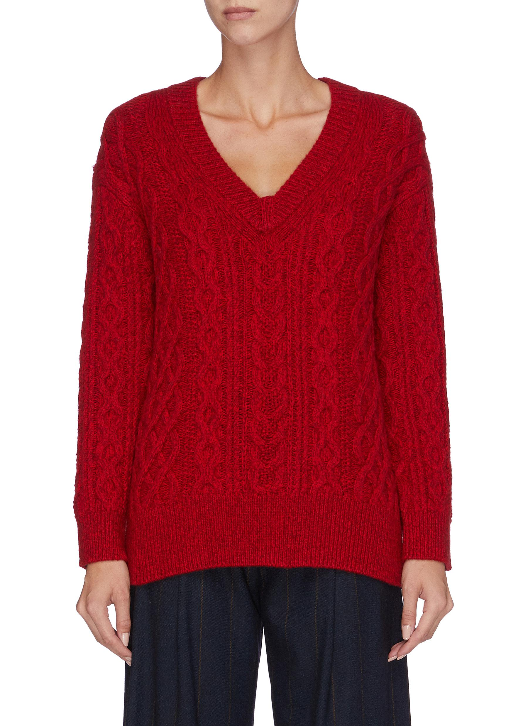 V neck Merino wool blend cable knit sweater by Vince