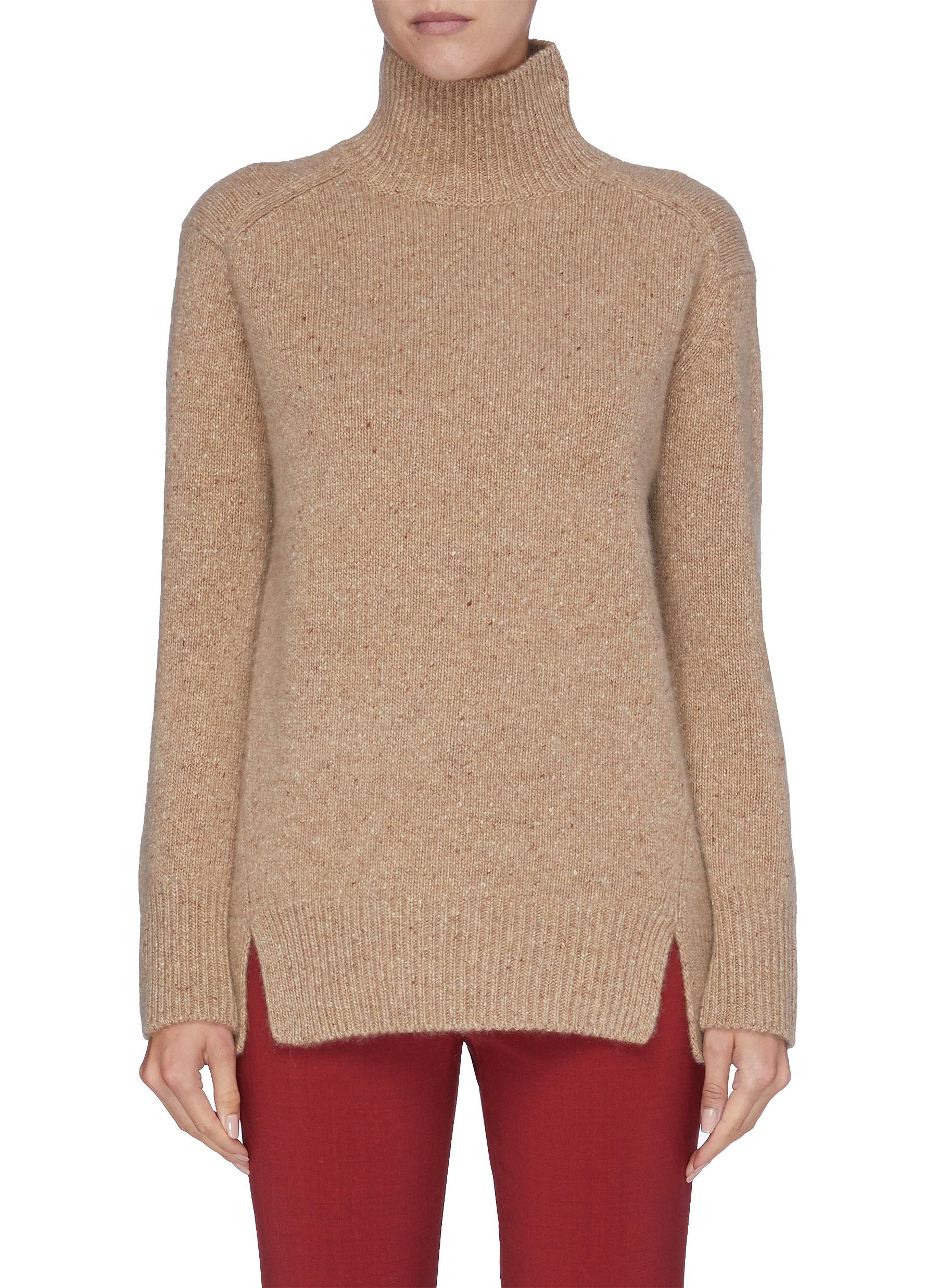 Slit hem turtleneck cashmere sweater by Vince