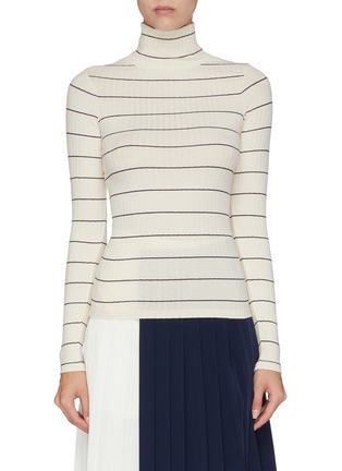 Main View - Click To Enlarge - VINCE - Ribbed stripe turtleneck top