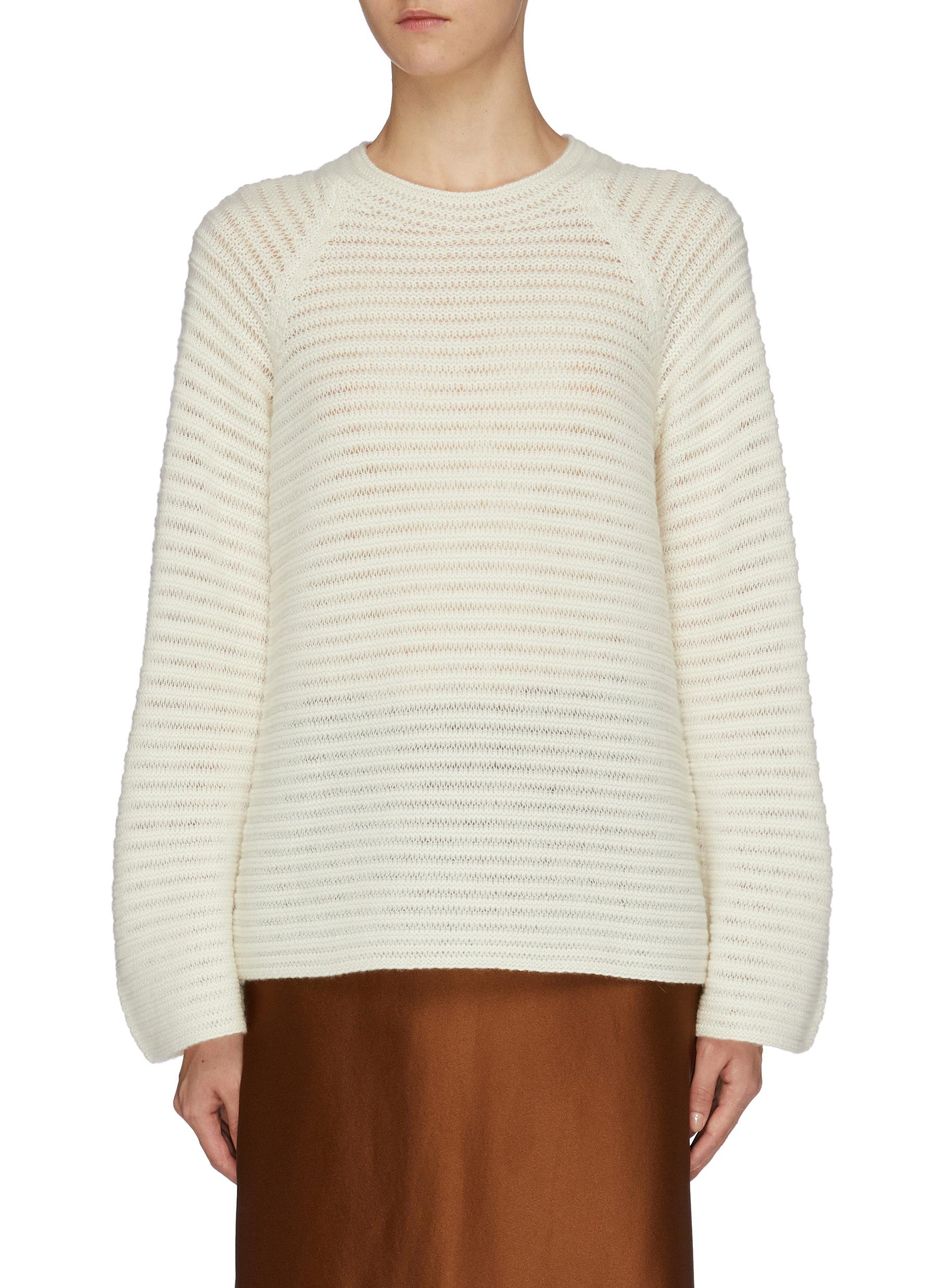 Stripe cashmere open knit sweater by Theory