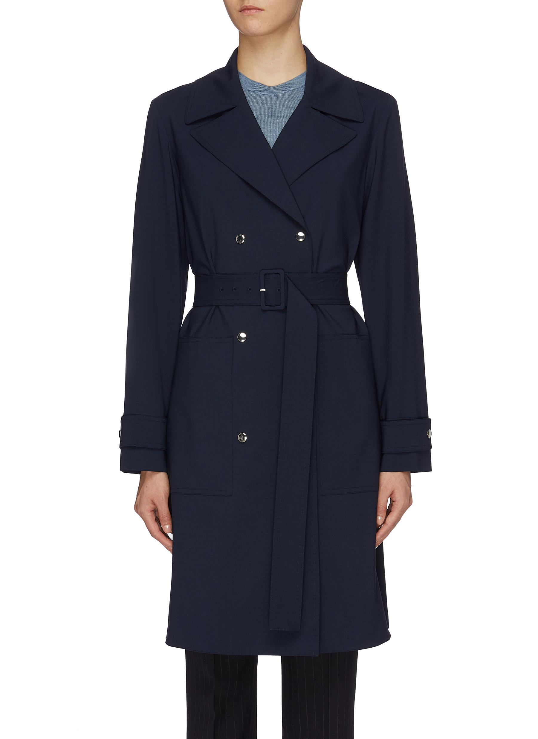 Belted virgin wool oversized military coat by Theory