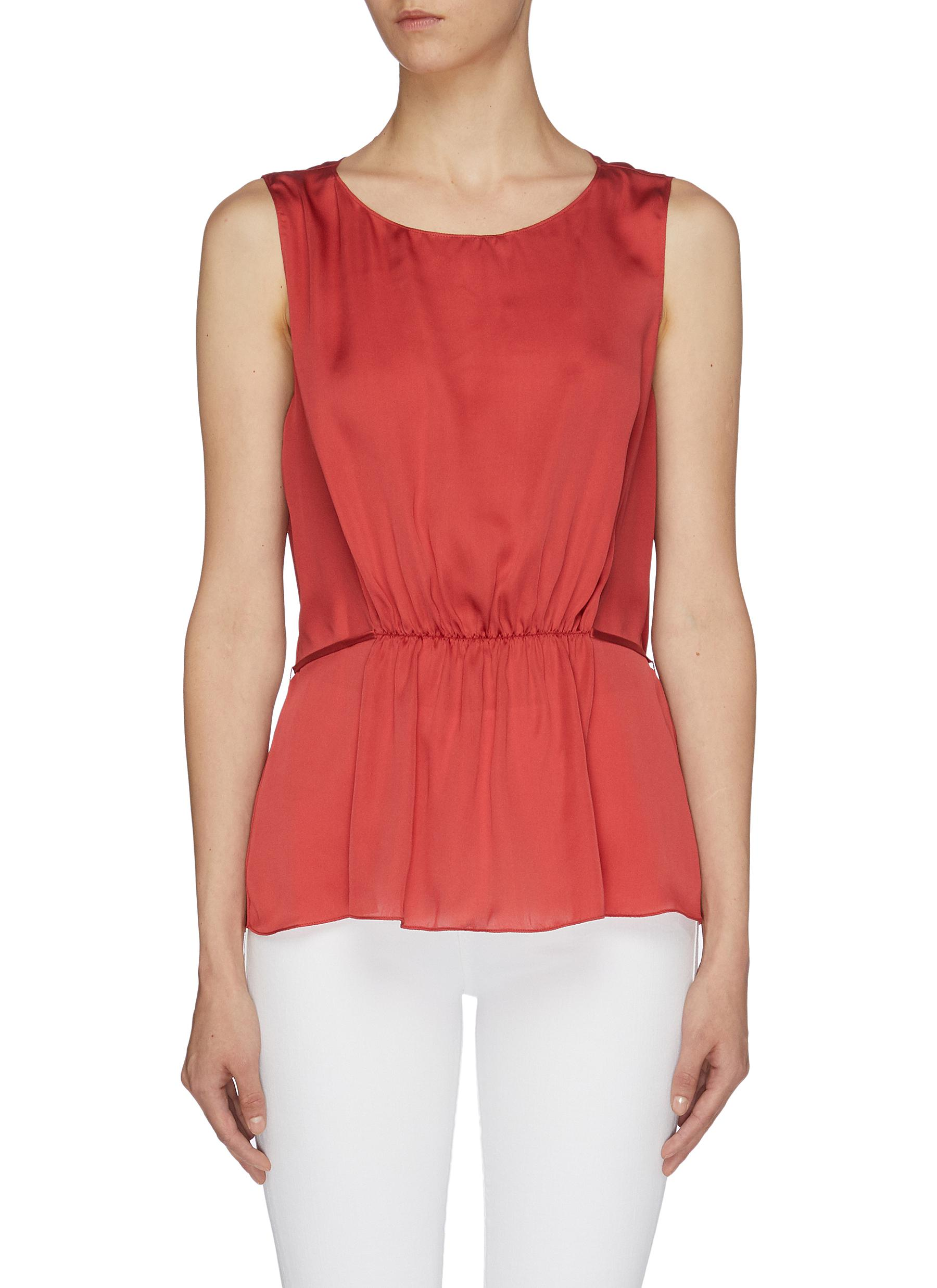 Tie back shirred silk sleeveless top by Theory