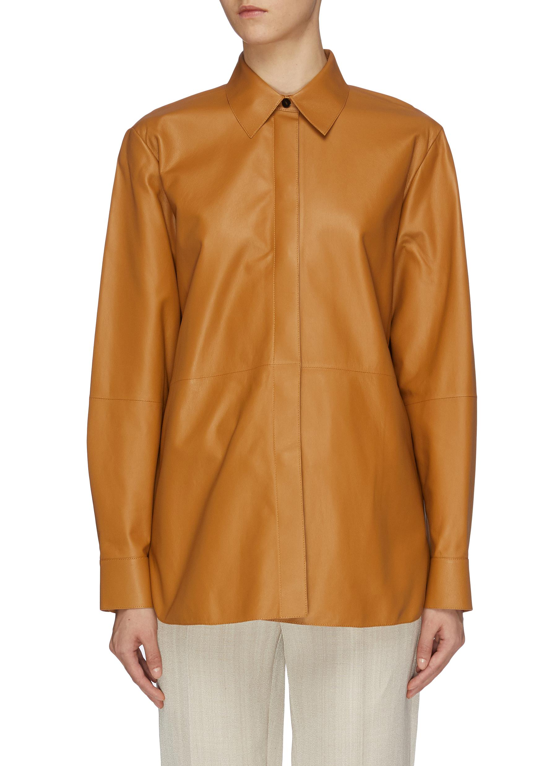 Menswear oversized nappa leather shirt by Theory