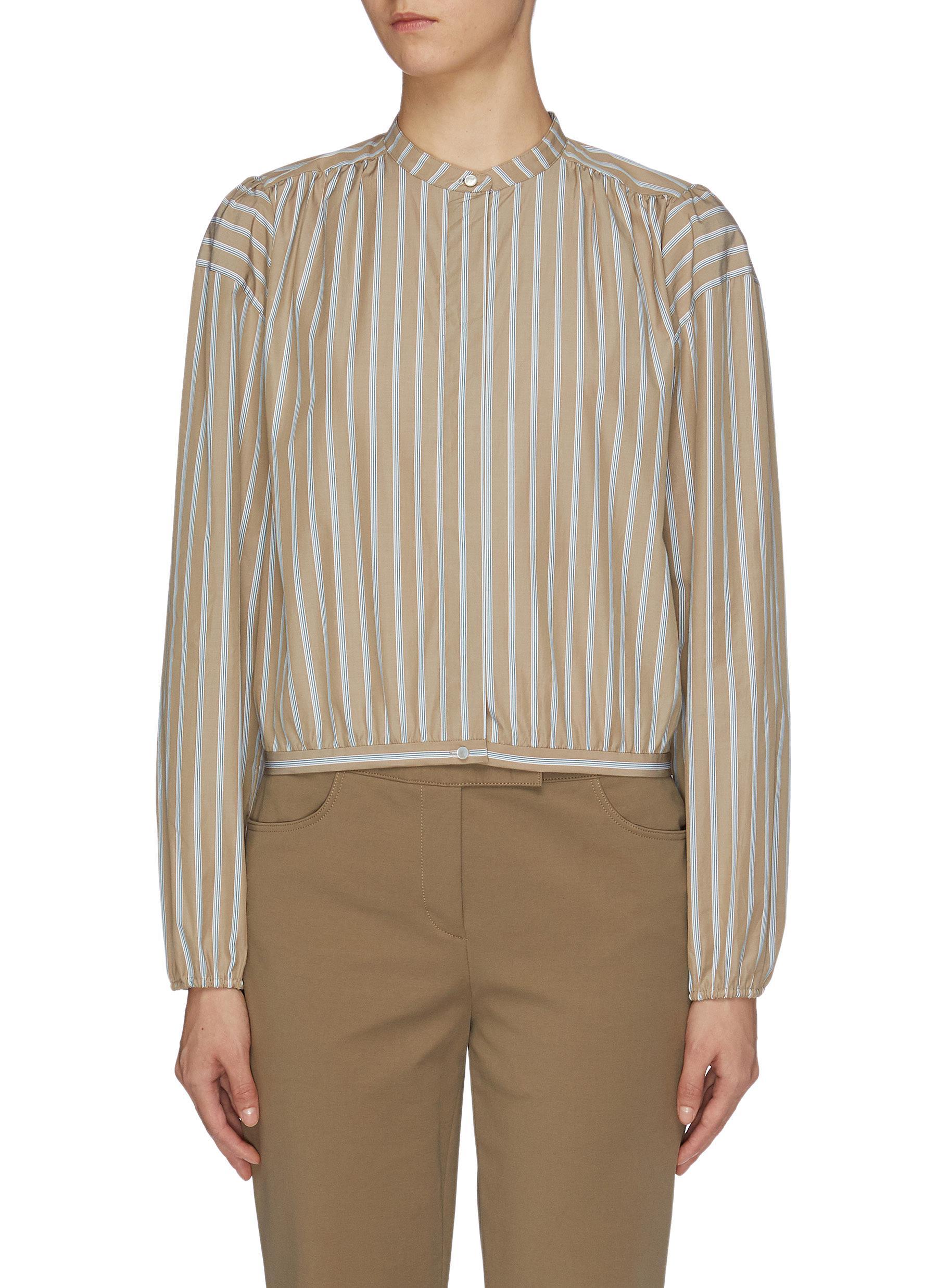 Ribbon tie waist shirred yoke stripe shirt by Theory