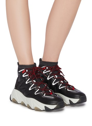Figure View - Click To Enlarge - ASH - 'Escape' chunky outsole high top panelled sneakers