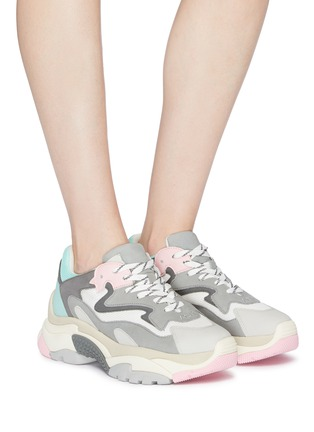Figure View - Click To Enlarge - ASH - 'Addict' chunky outsole leather panel mesh sneakers