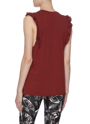 Back View - Click To Enlarge - THE UPSIDE - Logo print frilled sleeve muscle tank top
