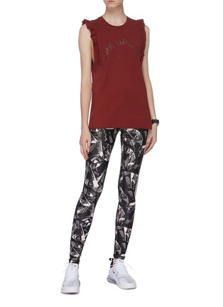 Figure View - Click To Enlarge - THE UPSIDE - Logo print frilled sleeve muscle tank top