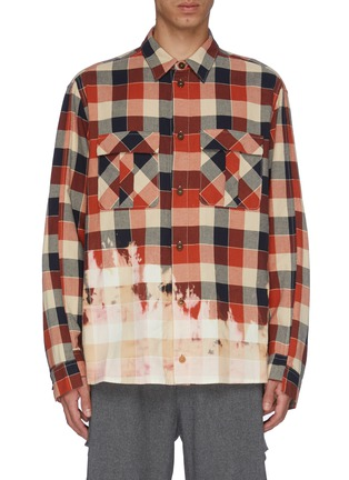 Main View - Click To Enlarge - MAISON FLANEUR - Bleached check plaid shirt
