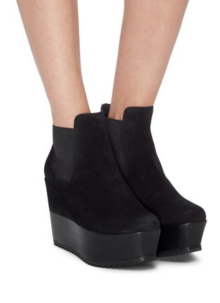 Figure View - Click To Enlarge - PEDRO GARCÍA - 'Franny' suede platform Chelsea boots