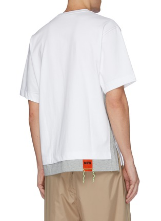 Back View - Click To Enlarge - SOLID HOMME - Contrast topstitching layered hem T-shirt