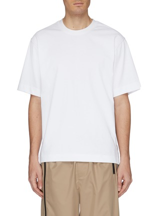Main View - Click To Enlarge - SOLID HOMME - Contrast topstitching layered hem T-shirt