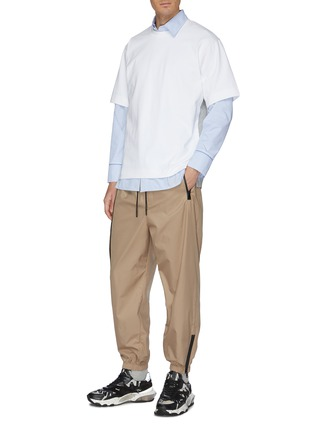Figure View - Click To Enlarge - SOLID HOMME - Contrast topstitching layered hem T-shirt