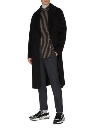 Figure View - Click To Enlarge - SOLID HOMME - Belted wool-cashmere melton coat