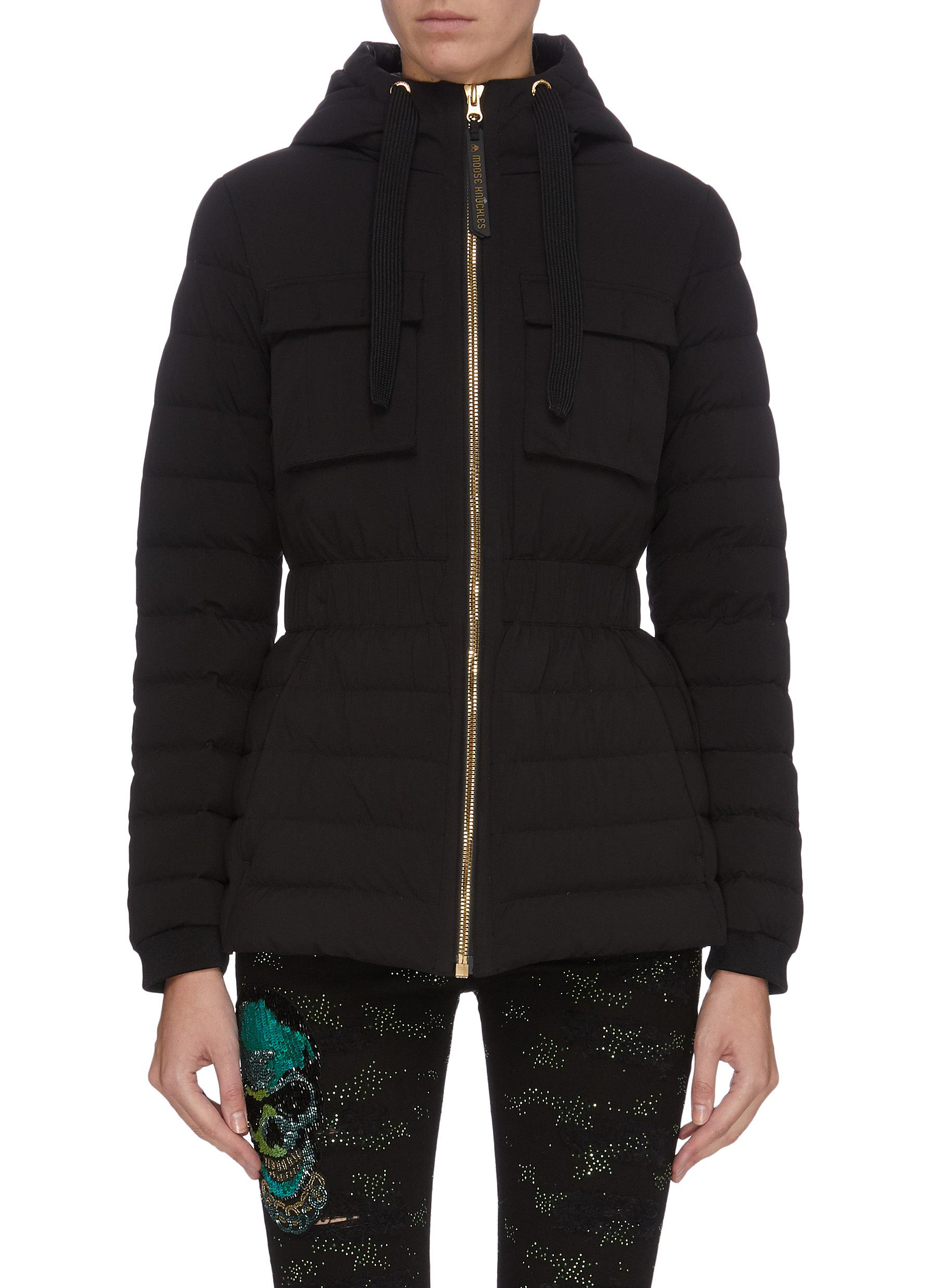 shop Moose Knuckles 'Kedgwick' quilted padded drawstring hooded down jacket online