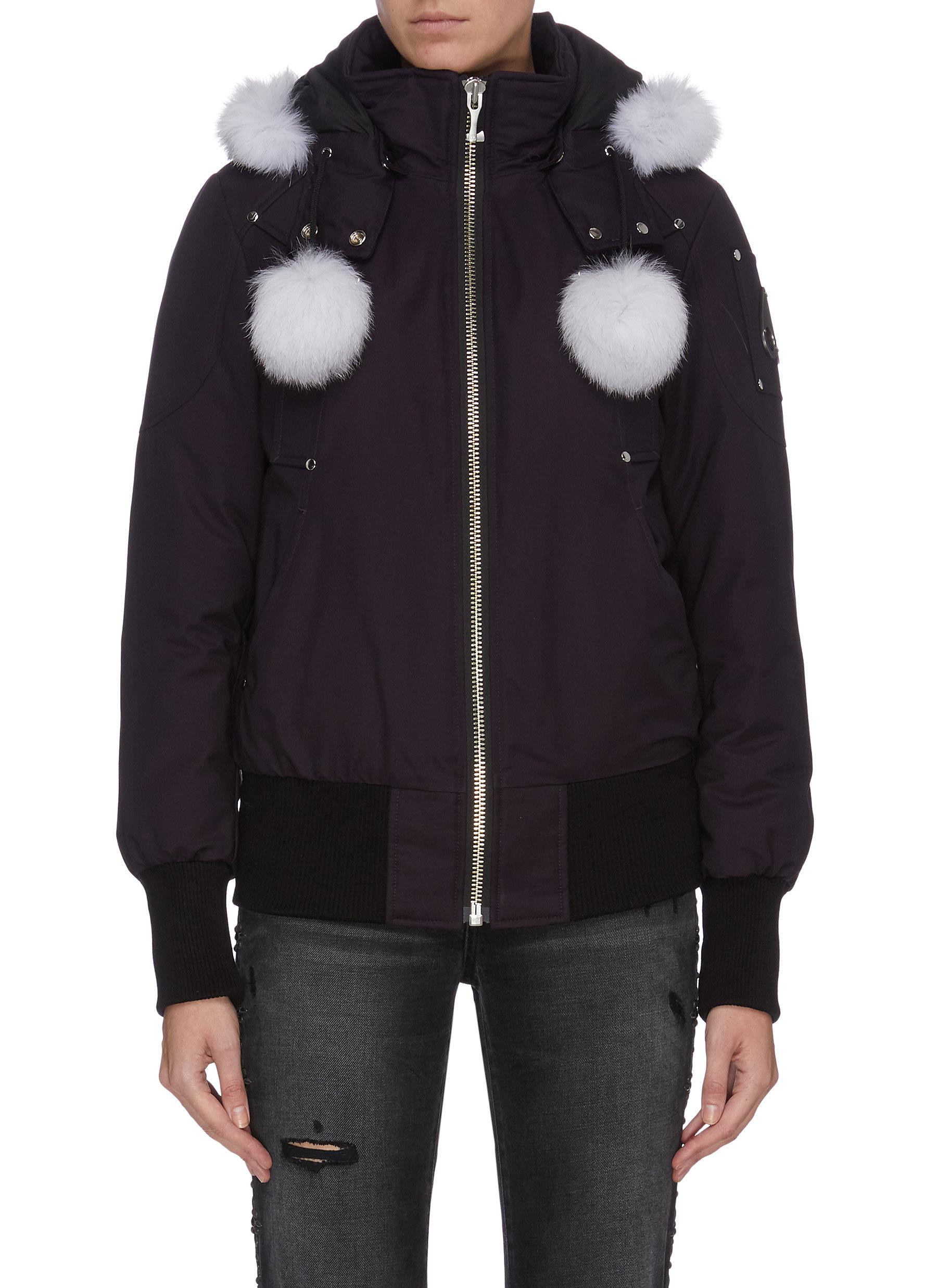 shop Moose Knuckles 'Debbie' fox-fur poms bomber jacket online