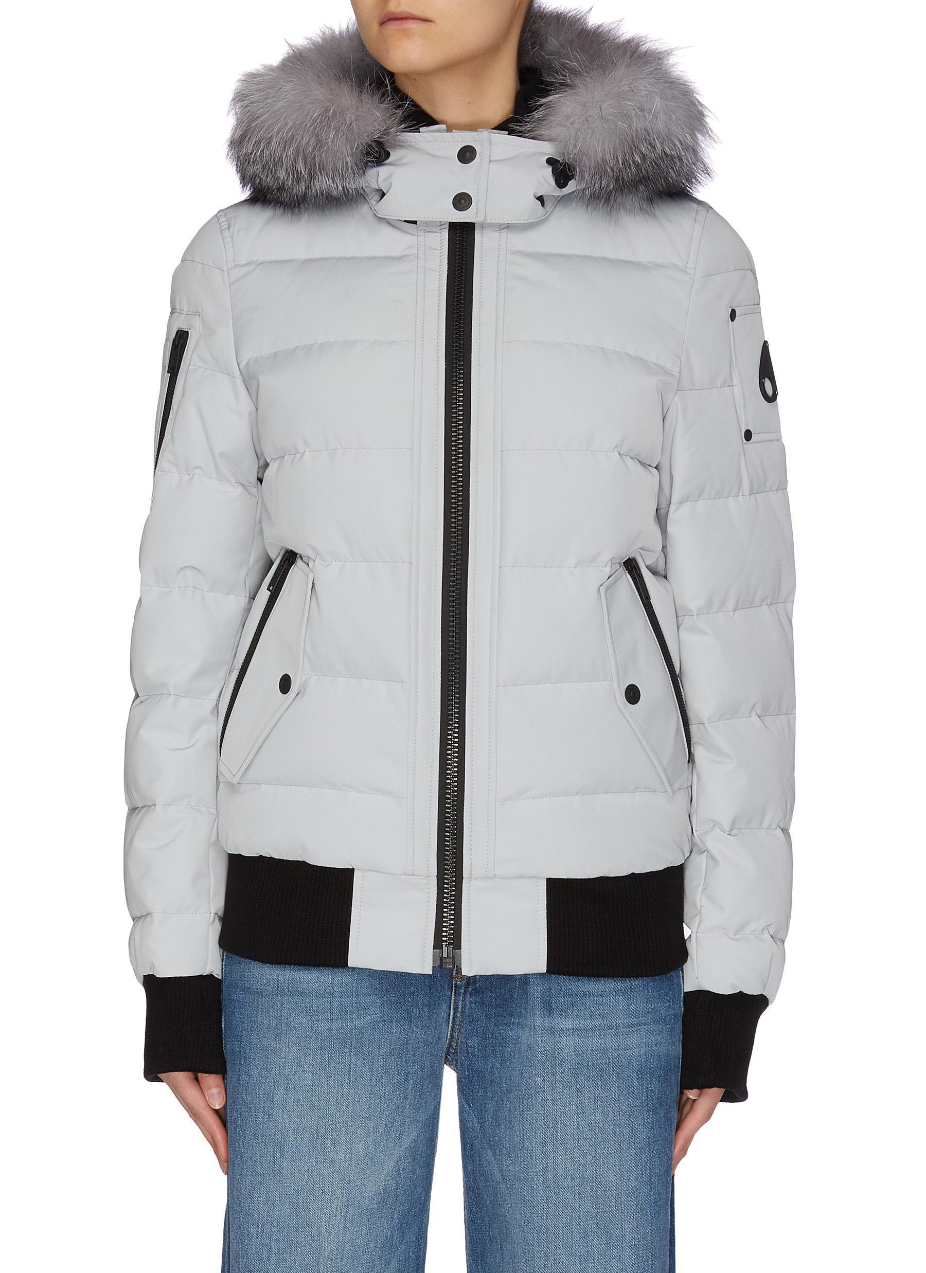 shop Moose Knuckles 'Ladriere' fox fur trim hooded bomber down jacket online