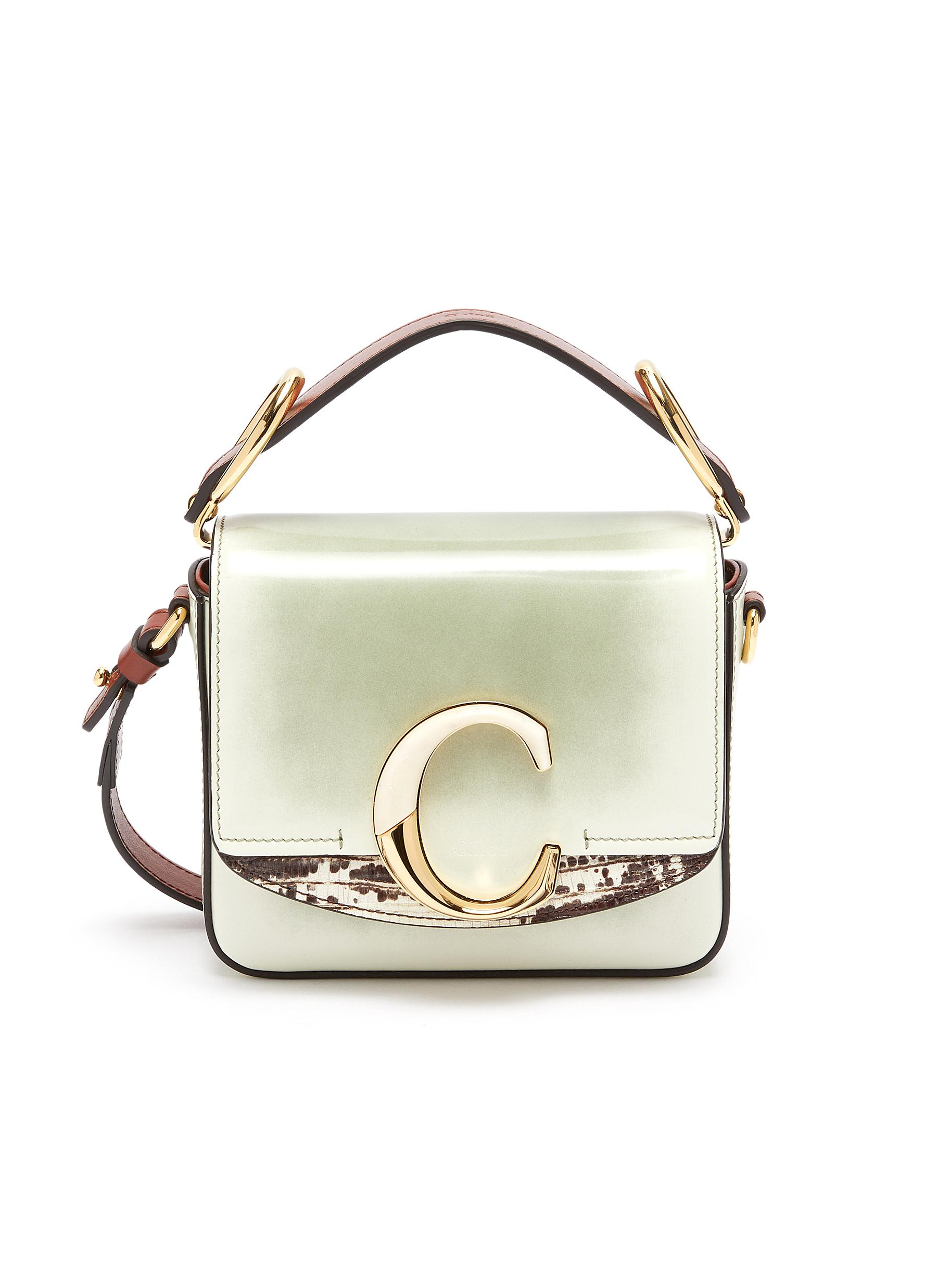981a308c19 'Chloé C' Suede Panel Mini Leather Top Handle Bag in White