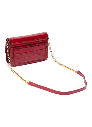 Detail View - Click To Enlarge - CHLOÉ - 'Chloé C' suede panel croc embossed leather clutch