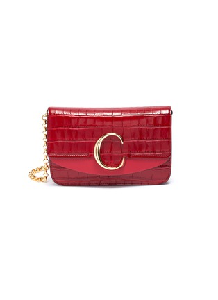 Main View - Click To Enlarge - CHLOÉ - 'Chloé C' suede panel croc embossed leather clutch