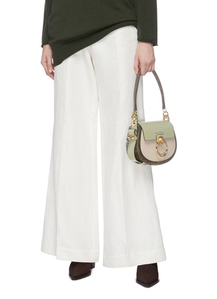Front View - Click To Enlarge - CHLOÉ - 'Tess' ring lizard embossed panel small leather saddle bag