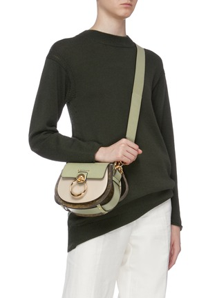 Figure View - Click To Enlarge - CHLOÉ - 'Tess' ring lizard embossed panel small leather saddle bag