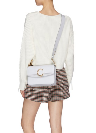 Front View - Click To Enlarge - CHLOÉ - 'Chloé C' suede panel small leather bag